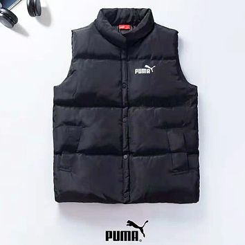 PUMA Autumn And Winter New Fashion Bust Print And Back Print Vest Top Coat Down Jacket Black