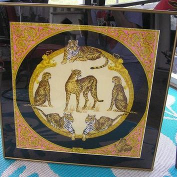 CREYON Versace Silk Scarf Cheetahs & Tigers Framed & Matted Pink Gold Black 24' Square