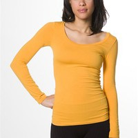 Round Neck Basic Long Sleeve T-Shirt - Goldenrod from Splash at Lucky 21 Lucky 21