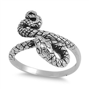 925 Sterling Silver Black Mamba Snake Ring 17MM