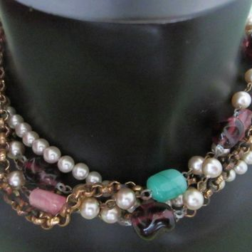 Mid Century Necklace Decorated Colored Glass Pearls Chain Golden Filigree Clasp