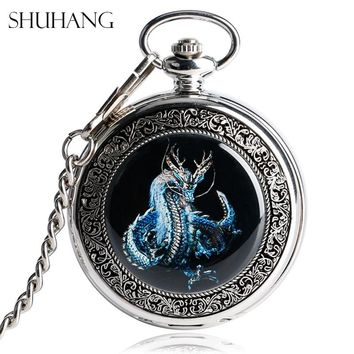 SHUHANG Evil Dragon Mechanical Pocket Watches Vintage Silver Steampunk Hand-Wind Fashion Women Men Skeleton Watch for Nurse