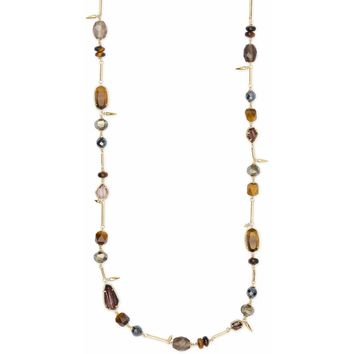 Kendra Scott: Ruth Gold Long Necklace In Brown Mix