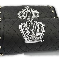 Chic Crown Royalty Embroidery Leather Car Neck Pillows