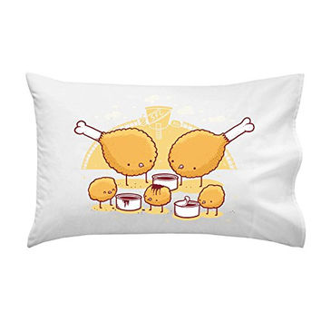 'Chicken Farm' Funny Fried Chicken Legs & Nuggets w/ Dipping Sauce - Pillow Case Single Pillowcase