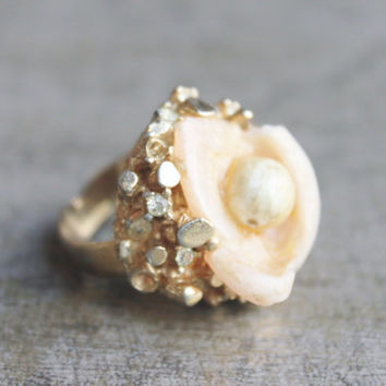 Intriguing 70's Ring-Funky Gold Setting -Lucite-Wax Flower -Chunky Cocktail Ring-Size 6 1/2