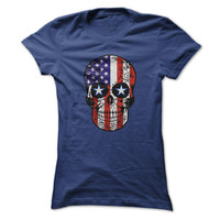 USA Patriotic American Flag Sugar Skull T-shirt