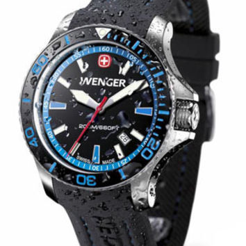 Wenger Mens Sea Force Dive Watch - Stainless Steel - Blue Accents - Rubber Strap