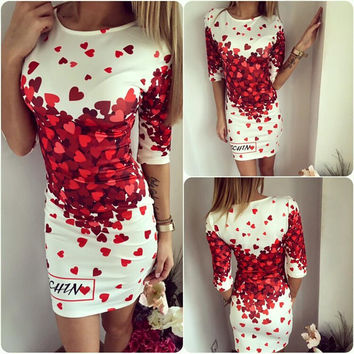 Womens Beautiful Heart Pattern Mini Dress
