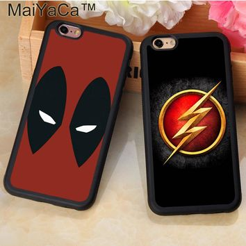 MaiYaCa Marvel Avengers Superhero Deadpool Flash Phone Case Coque For iPhone 7 8 Plus 6 6S Plus 5S SE X Soft Rubber Fundas Cases