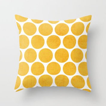yellow polka dots Throw Pillow by Her Art | Society6