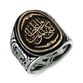 Calligraphy writing 'death is enough as advice' 925k sterling silver mens ring