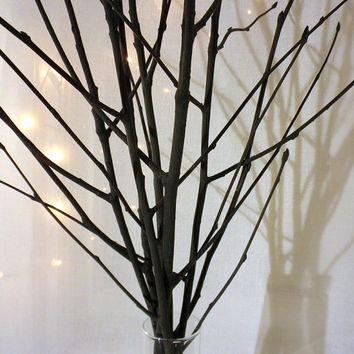 Black tree branches, black branch vase filler, modern simple minimalist centerpiece, rowan tree sticks for vase black wood stems black twigs