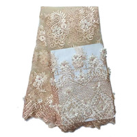 New apricot net cloth African lace bead elastic fabric High quality french black lace large size embroidery noble evening dress