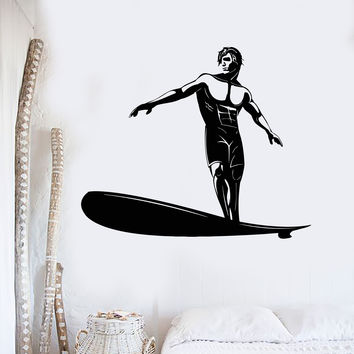 Vinyl Wall Decal Surfer Man Surfing Beach Style Sports Art Stickers Mural Unique Gift (ig5012)