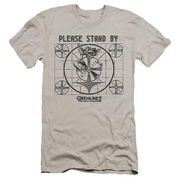 Gremlins 2 Premium Canvas T-Shirt Please Stand By Silver Tee