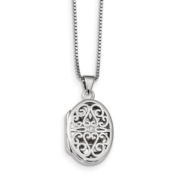 Sterling Silver 'White Ice' Diamond Filigree Oval Locket Necklace