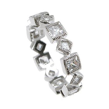 Plutus Brands 925 Sterling Silver Rhodium Finish CZ Princess Eternity Wedding Band 1 Carat weight- Size 7