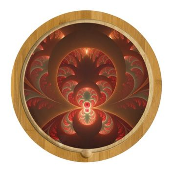 Luminous abstract modern orange red Fractal Cheese Platter