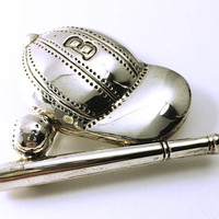 Unique Vintage Baseball Pendant - Brooch - Baseball - Silver Tone - Sports Collectors - Collectible Jewelry - Sports