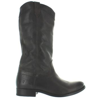 Frye Boot Melissa Pull On - Smoke Leather Knee-High Riding Boot