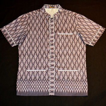 Vintage Nehru Mandarin Collar Ikat Print Men's Resort Shirt