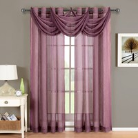 Abri Eggplant Grommet Crushed Sheer Curtain Panel