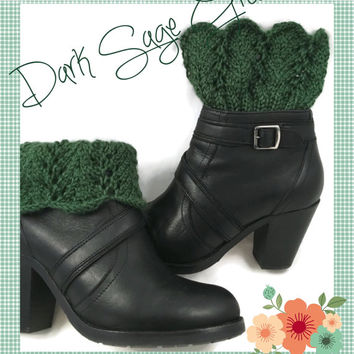 Ladies Boot Cuffs Dark Sage Green Lace Caron Simply Soft