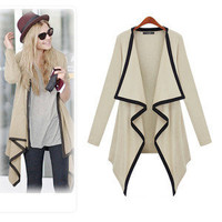 Womens Asymmetric Cape Poncho Top Cardigan Long Sleeve Coat Blouse Sweater S M L