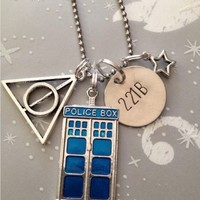 Deathly Hallows TARDIS 221B Necklace Harry Potter Doctor Who Sherlock Inspired Handmade SHIPS FROM USA from SHOW PONY