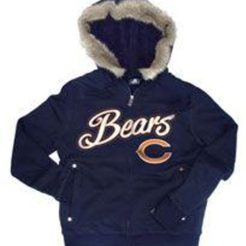 Chicago Bears Brushed Fleece Faux Fur & Sherpa Lined Full Zip Hoodie