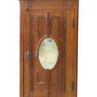 british colonial almirah oval Mirror Cabinet Rustic Furniture/ Indian Storage  Armoire teak