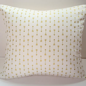 Decorative Pillow Cover, Gold Arrows, Gold and White, Throw Pillow Cover