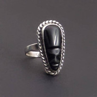 Vintage MEXICAN Sterling RING Black Onyx Obsidian Tribal Warrior Mask, Pinky Ring Size 5 c.1950's, Mexico Silver Jewelry Rings for Her