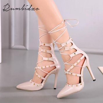 women pumps roman sandals booties ladies sexy hollow cross lace up rivets stiletto high heels shoes gladiator sandalias