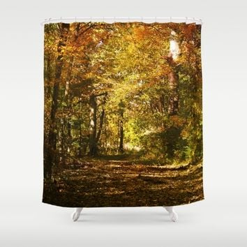 Woods Lake Trail Shower Curtain by Theresa Campbell D'August Art