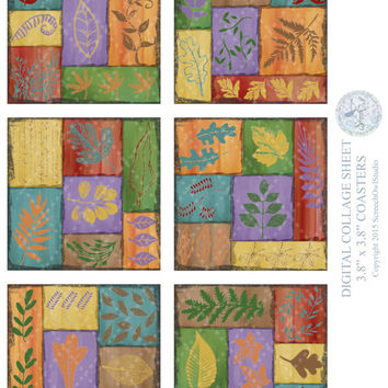 Collage Sheet | Coasters | Leaves | Decoupage | Card Making | Paper Craft Supplies | Instant Download | Coupon Codes