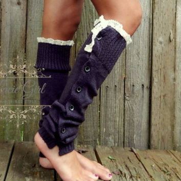 Lace Button Down Leg Warmers