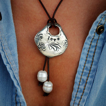 Handmade Sterling Silver LOVE Leather and Pearl Boho Necklace