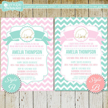 Little lamb baby shower invitation, Customized sheep girl baby shower invite card, Printable chevron lamb party invitation / pink and teal