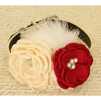 Floral Ivory and Red dog collar, Red wedding, Dog birthday, Floral wedding