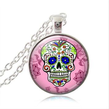 Top Quality Sugar Skull necklace Steampunk jewelry glass dome Pendant skull Day of The Dead art picture handmade jewelry HZ1