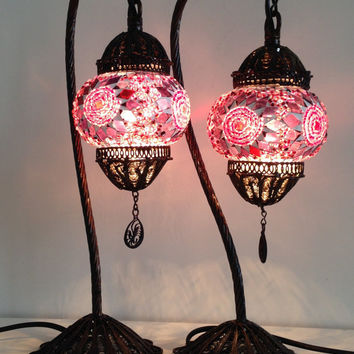 Pink Turkish Stylish Boho Mosaic Lamp From TheLampCorner