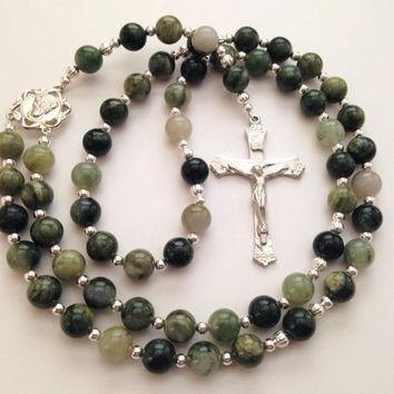 Green Line Jasper Rosary, Silver Crucifix, Sacred Heart of Jesus, Catholic Prayer Beads, Rosary Beads, Confirmation Gift