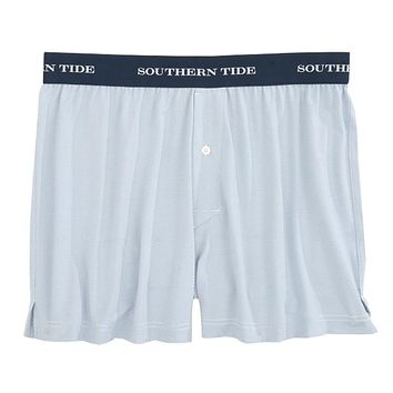 Fairway Dunes Stripe Performance Boxer in Tsunami Grey by Southern Tide