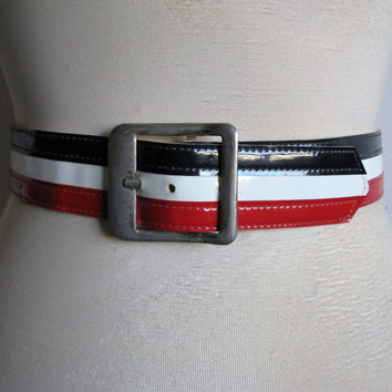 Vintage 70s Stripe Belt Red White Blue Faux Leather Gold Buckle 1970s Ceinture Rouge Bleu Blanc Large Grande
