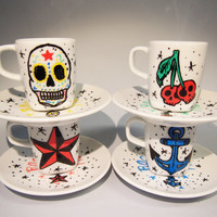 Hand painted coffee cups Rockabilly Rock and roll