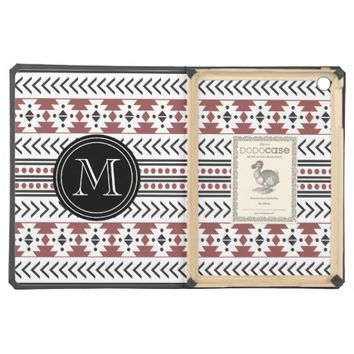 Trendy Monogrammed Aztec Tribal Pattern(Wine Red) iPad Air Cases