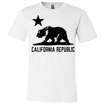 California Flag Oversize Black Silhouette Asst Colors Mens Fitted T-Shirt/tee