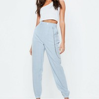Missguided - Blue Plaid Chain Detail Cargo Pants
